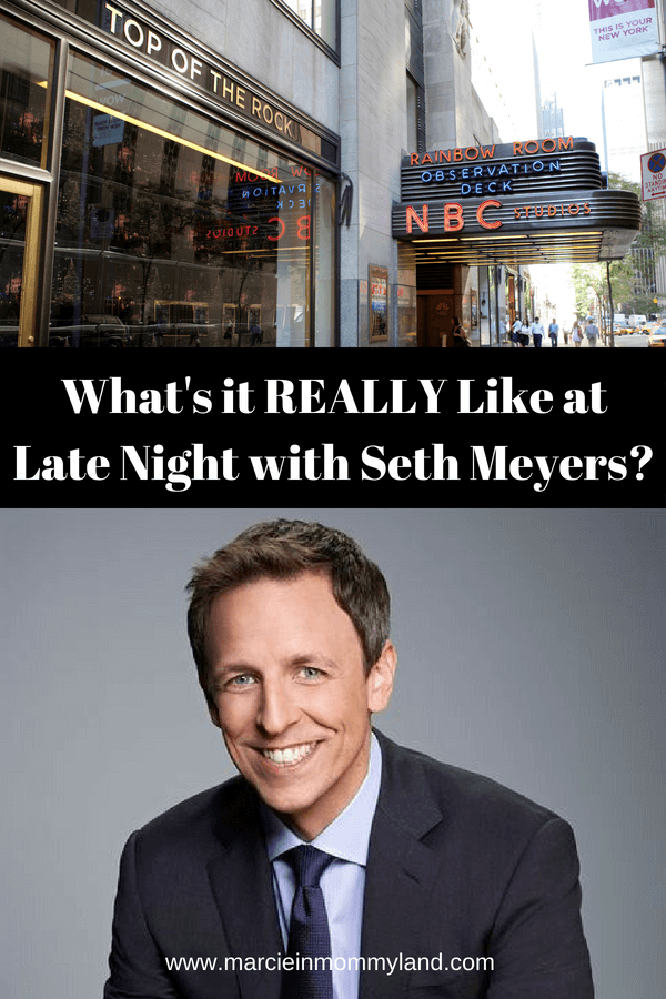 Want to know what it's really like to be an audience member at Late Night with Seth Meyers? Find out how to get free Seth Meyers tickets and what to expect when you get to this free NYC activity. Click to read more or pin to save for later. www.marcieinmommyland.com #sethmeyers #latenight #latenightwithsethmeyers #nbcstudios #30rock #rockefellercenter #nyc