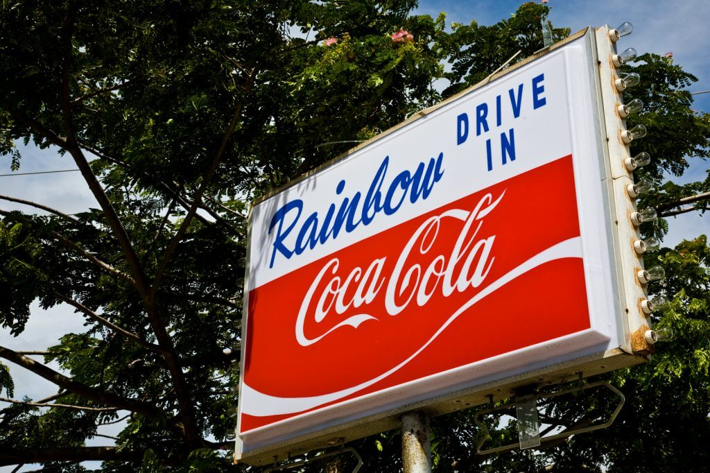 Photo of Rainbow Drive In, a top Oahu restaurant for Hawaiian food near Waikiki, famous for their Hawaiian plate lunch. Read more in my travel guide to Oahu with kids. #platelunch #oahu #oahueats #oahufood #rainbowdrivein #hawaiianfood #waikiki #honolulu