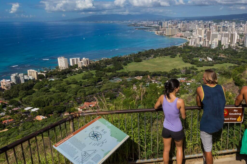 Photo of the hike to Diamond Head (also known as the Leahi hike) overlooking Waikiki and Honolulu on the island of Oahu. This is one of the most popular Oahu hikes for families. Read more in my Oahu travel guide for families. #oahu #diamondhead #leahi #oahuhike #oahuhiking #hiking #hawaii #familytravel