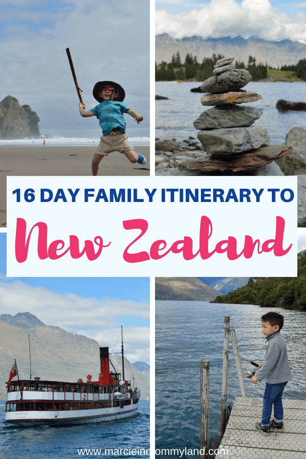 Planning a trip to New Zealand with kids? Check out this 16 day family itinerary to Auckland, Queenstown, Rotorua, and more! Click to read more or pin to save for later. www.marcieinmommyland.com #newzealand #auckland #queenstown #familytravel #travelwithkids #nz