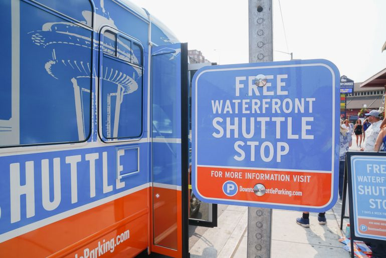 Photo of the FREE Seattle Waterfront Shuttle, the newest Seattle tour bus specifically for the Seattle waterfront, Seattle Center, Pioneer Square, Century Link Field and more! #seattlewa #visitseattle #seattlewaterfront #seattletour #seattletourbus #spaceneedle
