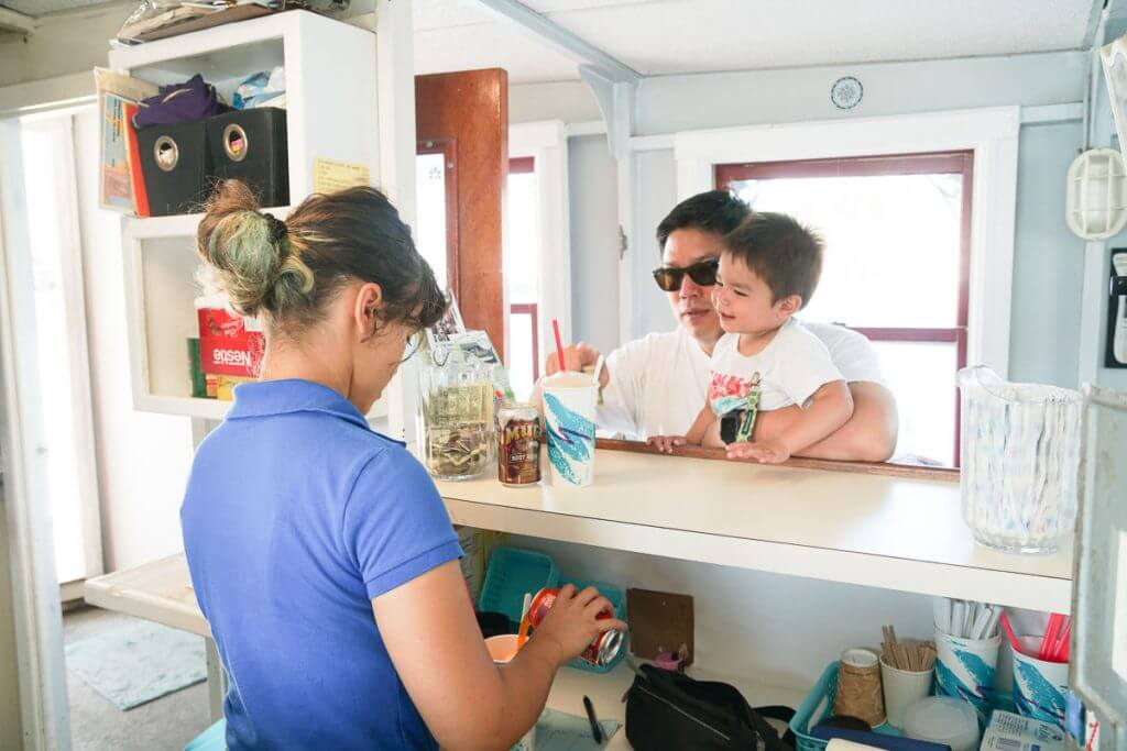 Photo of the concession stand on the Sunday Ice Cream Boat in Seattle, WA, a fun Lake Union boat ride for families #icecream #icecreamcruise #seattleicecreamcruise #sundayicecreamcruise #pnw #seattlewithkids #seattleboat