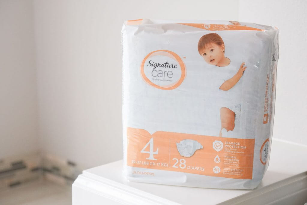 Photo of Signature Care diapers, which is a budget-friendly baby product that will save you money #signaturecare #diaper #diapers #babyproducts #baby #toddler