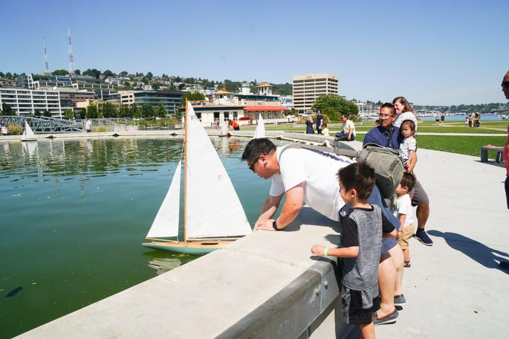 Photo of the toy boats available through the Center for Wooden Boats at Lake Union Park in Seattle, WA. #pnw #lakeunion #lakeunionpark #toyboats #miniatureboats #seattlewa #pacificnorthwest #thingstodoinseattle