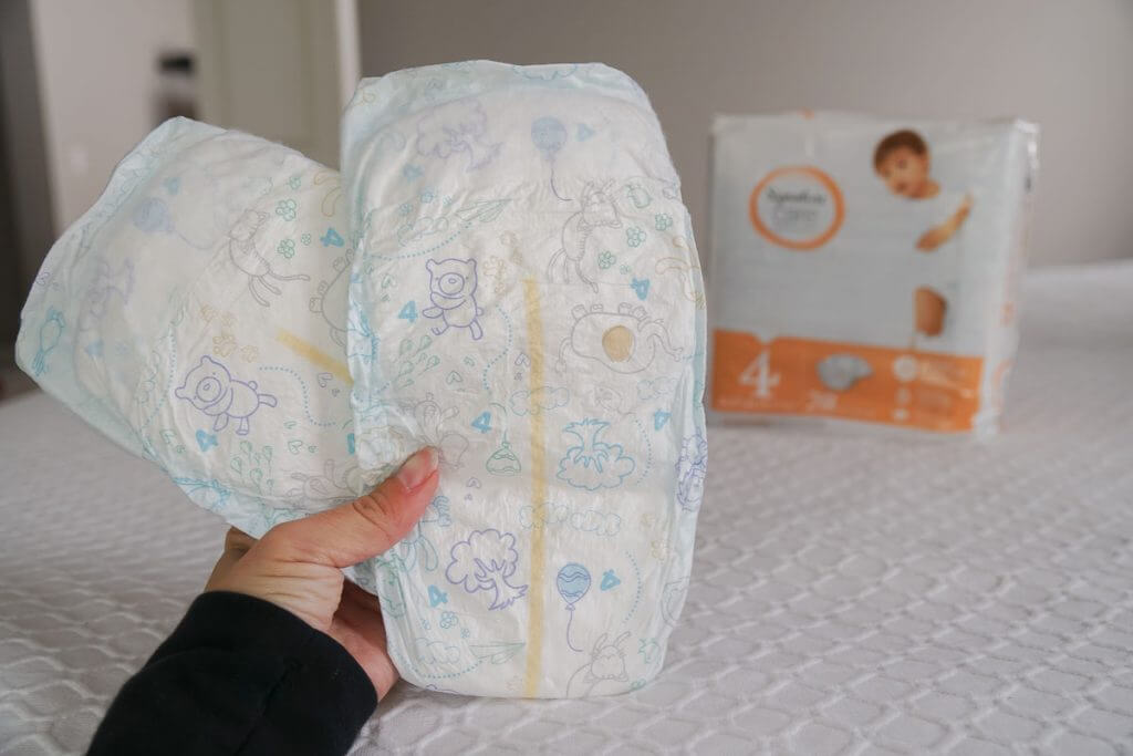Photo of Signature Care diapers, which feature a wetness indicator and are great for flying with a baby or toddler #diaper #babyproducts #signaturecare #signaturecarediapers #safeway #albertsons