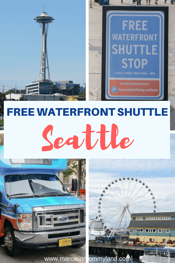 Would you like to visit the Seattle Waterfront, but don't want to deal with finding parking? Hop on this free Seattle Waterfront Shuttle which stops at the Seattle Aquarium, the Space Needle, Pioneer Square, and more! Click to read more or pin to save for later. www.marcieinmommyland.com #seattlewaterfrontshuttle #downtownseattleassociation #visitseattle #spaceneedle #seattlecenter #seattletour #seattletourbus #seattleattractions