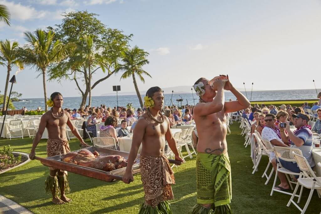 Photo of the Marriott luau on Maui located at the Wailea Beach Resort on Maui's South Side, a top Maui luau #maui #wailea #waileabeachresort #luau #hawaiianluau #waileamaui