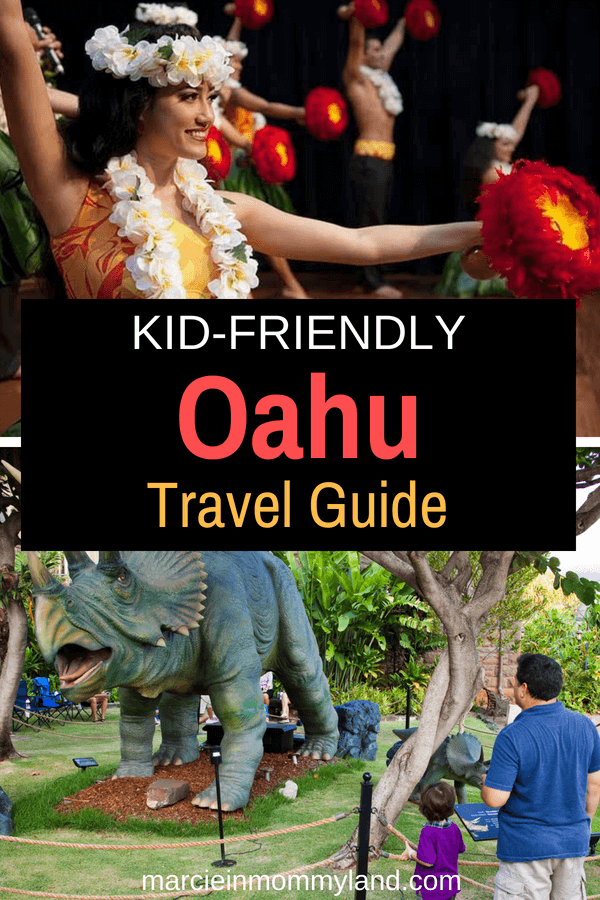 Looking for a kid-friendly Oahu travel guide? Get my top Oahu beaches, best food on Oahu, Oahu kids activities, best resorts in Oahu for families, and more! Click to read more or pin to save for later. www.marcieinmommyland.com #bishopmuseum #alamoanacenter #oahu #honolulu #waikiki #hawaiiwithkids #familytravel #hula #dinosaurs