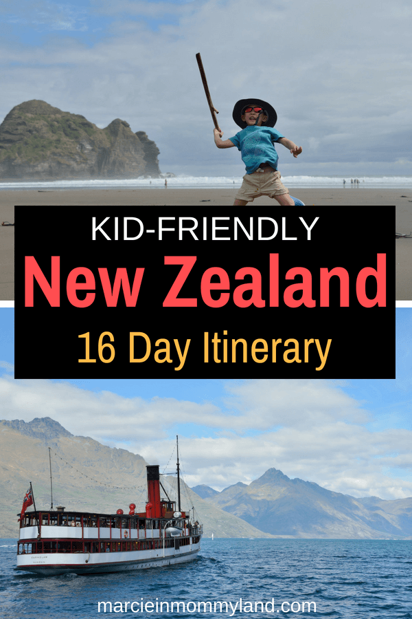 Looking for a kid-friendly New Zealand itinerary? Find out the best things to do in New Zealand with kids in 16 days, covering Auckland, Queenstown, Dunedin, Devonport and more! Click to read more or pin to save for later. www.marcieinmommyland.com #newzealand #familytravel #auckland #queenstown #dunedin #tssearnslaw #newzealandtravel #traveltips