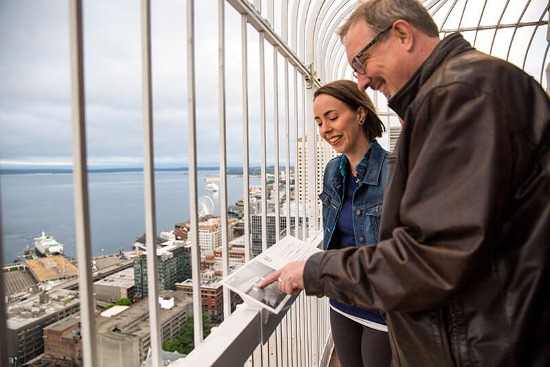 Photo of Smith Tower Observation area in Seattle, Washington, a top Seattle attraction #smithtower #seattle #seattlewa #visitseattle #seattlephotospots
