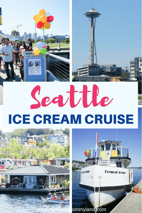 Are you looking for a fun boat ride around Lake Union in Seattle, Washington? See why you should take a ride on the Seattle Ice Cream Cruise. Click to read more or pin to save for later. www.marcieinmommyland.com #seattle #seattlewa #pnw #pacificnorthwest #icecreamcruise #icecream #sundayicecreamcruise #seattleattractions #seattletourism #visitseattle