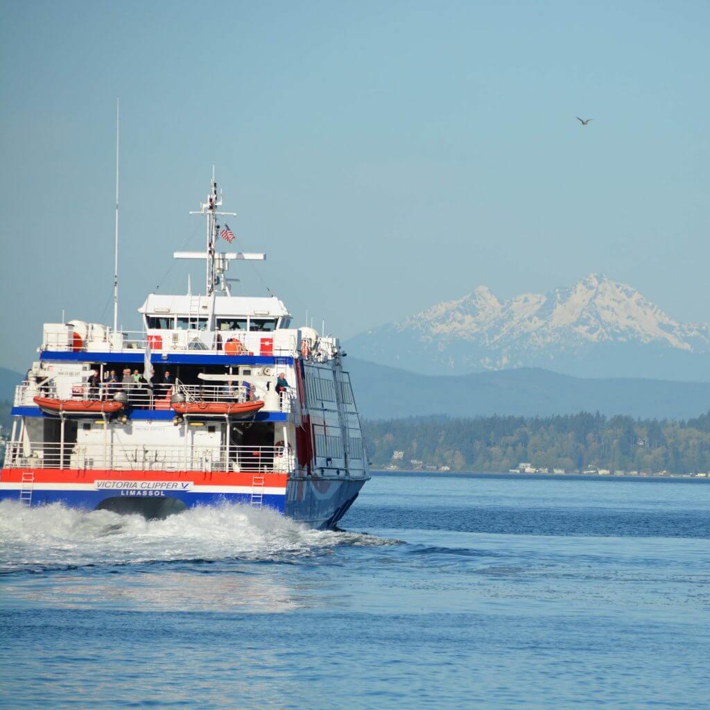 Photo of the Victoria Clipper, a Seattle tour boat that transports visitors to Victoria, British Columbia, Canada #victoriaclipper #clippervacations #seattlewa #victoriabc #pnw #pacificnorthwet #seattletourism
