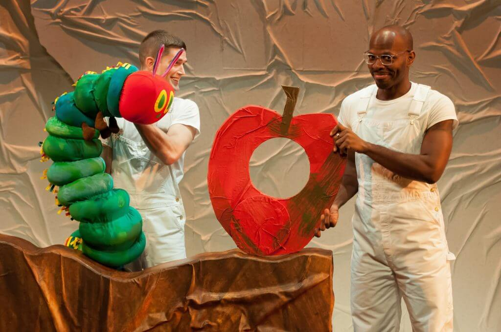Spencer Wolfe and Emmanuel Elpenord in SCT's 2018 production of The Very Hungry Caterpillar Show. Photo by Elise Bakketun. #caterpillarshow #caterpillarsct