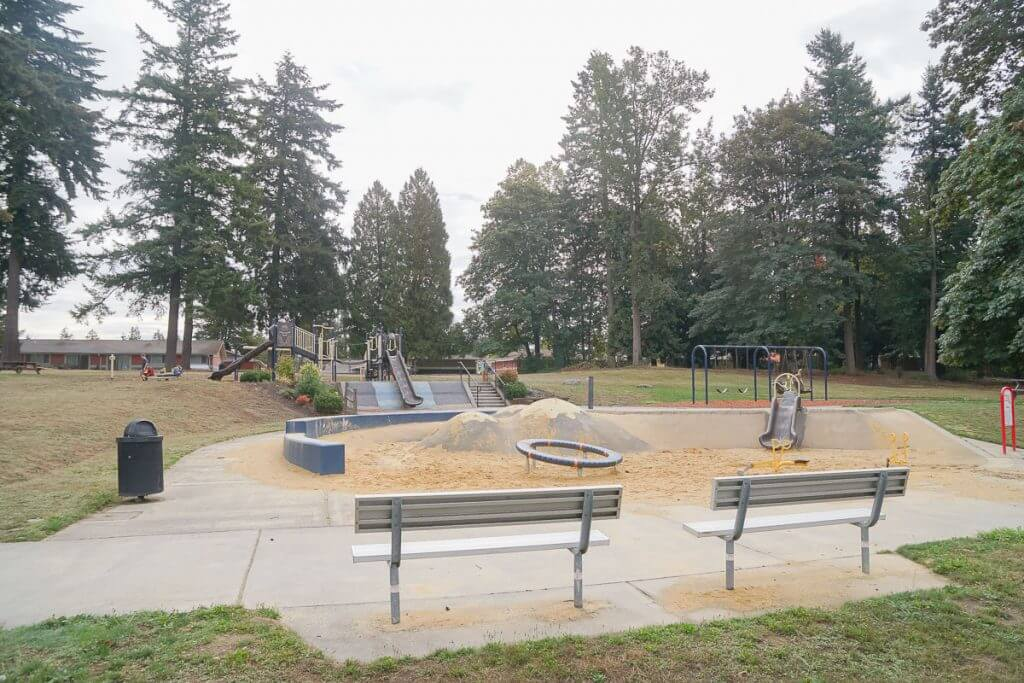 Photo of Turnkey Park in Kent, WA, a fun playground in the Pacific Northwest #visitkentwa #playground