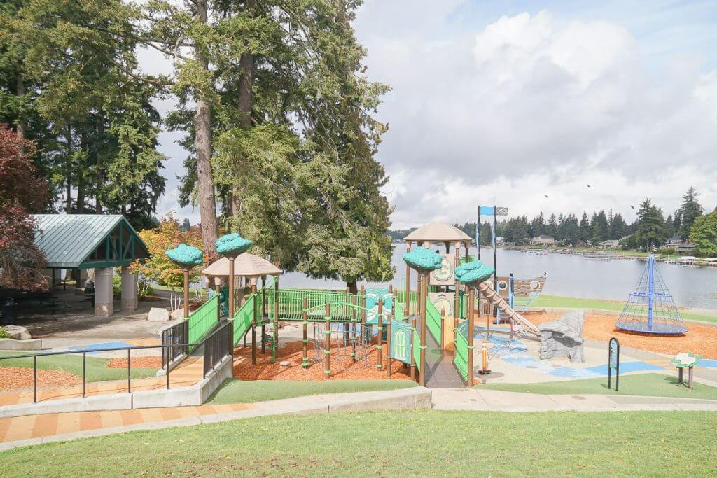 Photo of Lake Meridian Park in Kent, WA, a fun playground in Washington State #playground #visitkentwa #lakemeridian #pnw #washingtonstate