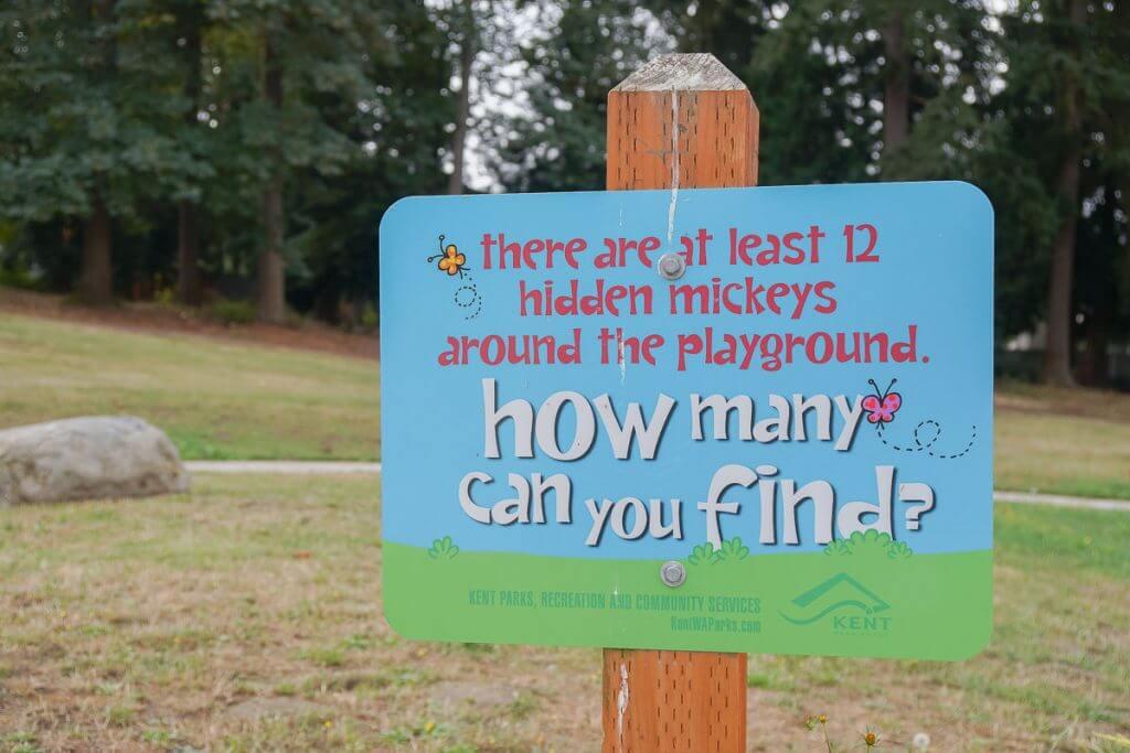 Photo of Turnkey Park in Kent, WA where you can find hidden Mickeys! #visitkentwa #hiddenmickeys #mickeymouse #scavengerhunt
