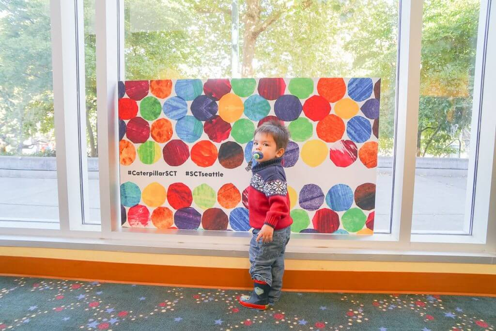 Photo of a toddler at Seattle Children's Theatre in Seattle #caterpillarshow #caterpillarsct