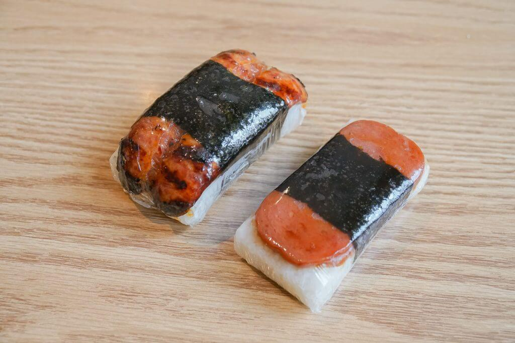 Photo of SPAM musubi and Portuguese sausage musubi from Saimin Says in Kent, WA #visitkentwa #saiminsays #musubi