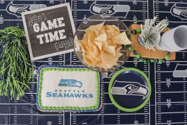 Photo of a Seattle Seahawks party with an officially licensed NFL cake with DecoPac #nfl #seattleseahawks #decopac #footballparty