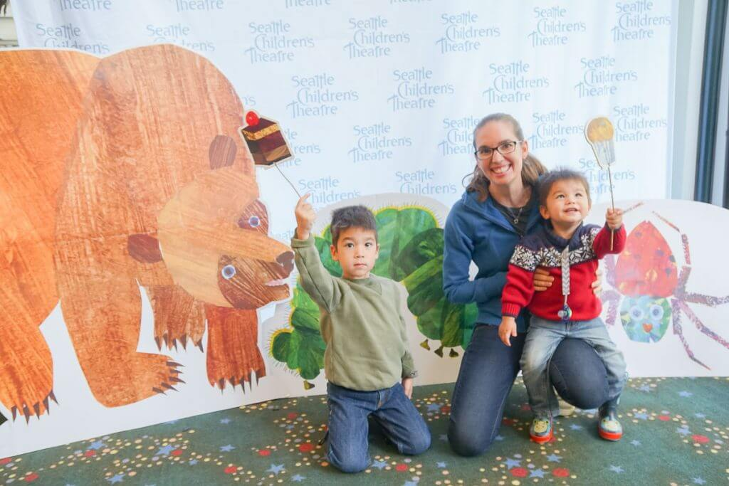 Photo of the photo op at the Seattle Children's Theatre production of The Very Hungry Caterpillar Show #brownbear #ericcarle #seattle