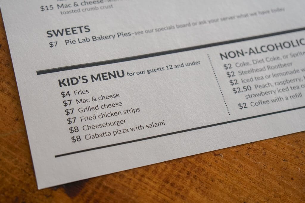 Photo of the kids menu at Airways Brewing Bistro in Kent, WA #kidsmenu #airwaysbrewing #visitkentwa