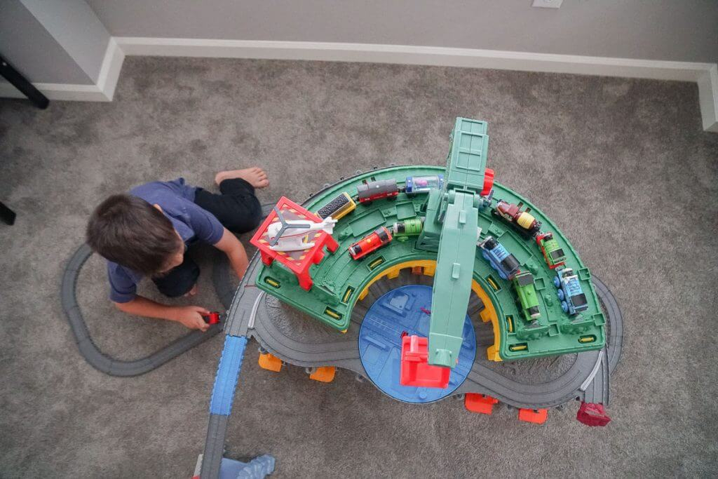 Photo of the Thomas Super Station, a train set that makes a great holiday gift for preschoolers #thomassuperstation #trainset #toys
