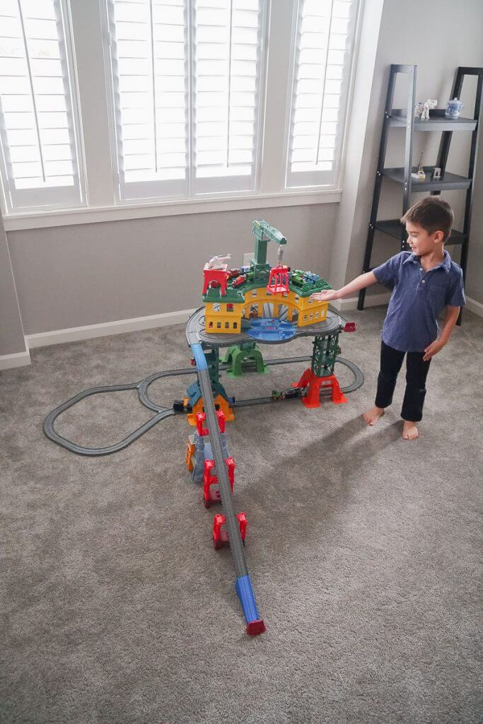 Photo of the Thomas Super Station in one of the track configurations #thomassuperstation #thomasandfriends #giftsforpreschoolers #giftsfortoddlers