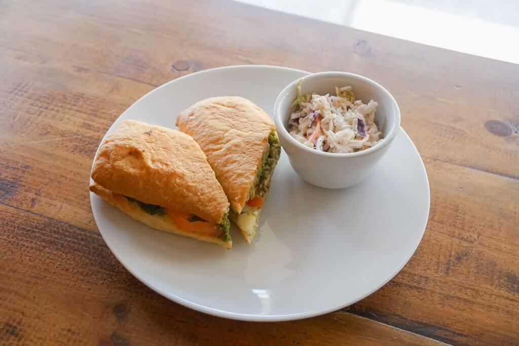 Photo of a caprese sandwich at Airways Brewing Bistro in Kent, WA, a kid-friendly restaurant in the Seattle-area #visitkentwa #airwaysbrewing