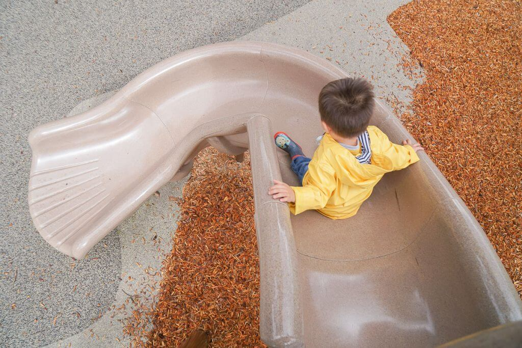 Photo of a toddler going down a slide at a Washington State park #visitkentwa #playground