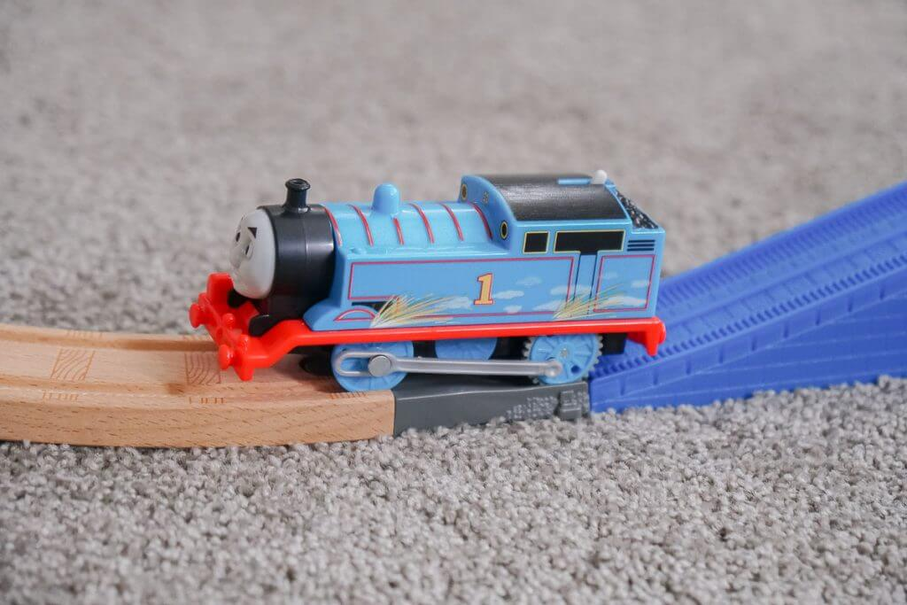 Photo of the Thomas Super Station adapter, making it compatible with Thomas Wooden Railway, Thomas TrackMaster, Thomas & Friends, and Thomas MINIS #thomassuperstation #thomasandfriends #trainset #traintracks