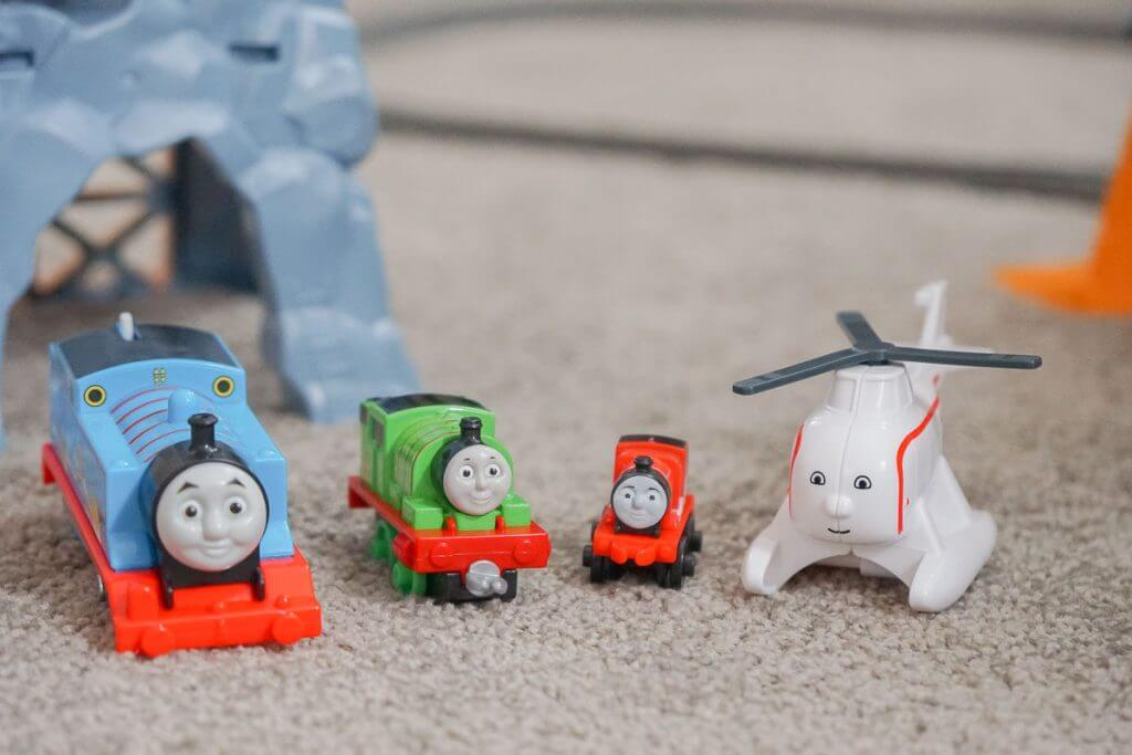 Photo of the trains that come with the Thomas Super Station #thomassuperstation #thomasandfriends #haroldthehelicopter #percy #toysforpreschoolers #trainset