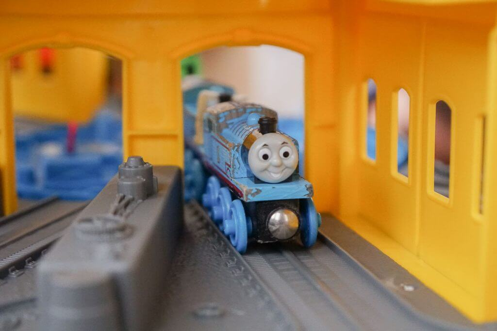 Photo of Thomas Wooden Railway trains on the Thomas Super Station, available at Walmart #thomassuperstation #thomasandfriends #woodentrain #woodenrailway