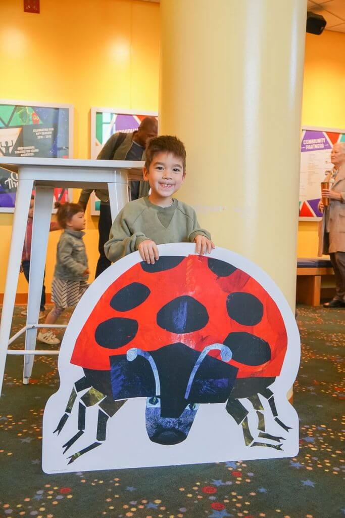 Photo of an Eric Carle lady bug at the Seattle Children's Theatre #ericcarle #seattlechildrenstheatre #seattlecenter
