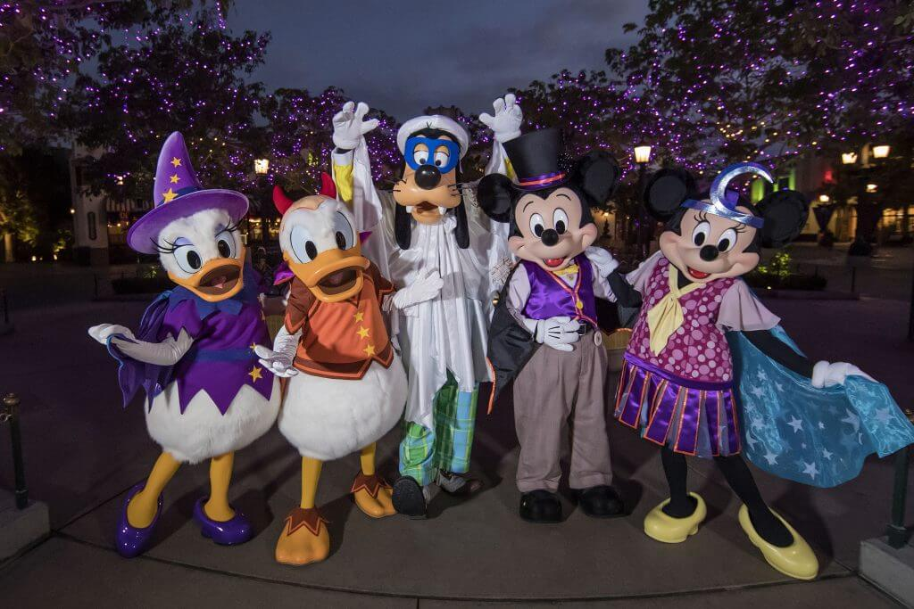 Photo of Disney characters dressed in Halloween costumes at Disneyland ready for Mickey's Halloween Party #Disney #Disneyland #mickeyshalloweenparty #mickey #goofy #minnie #daisy #donald #Disneymom