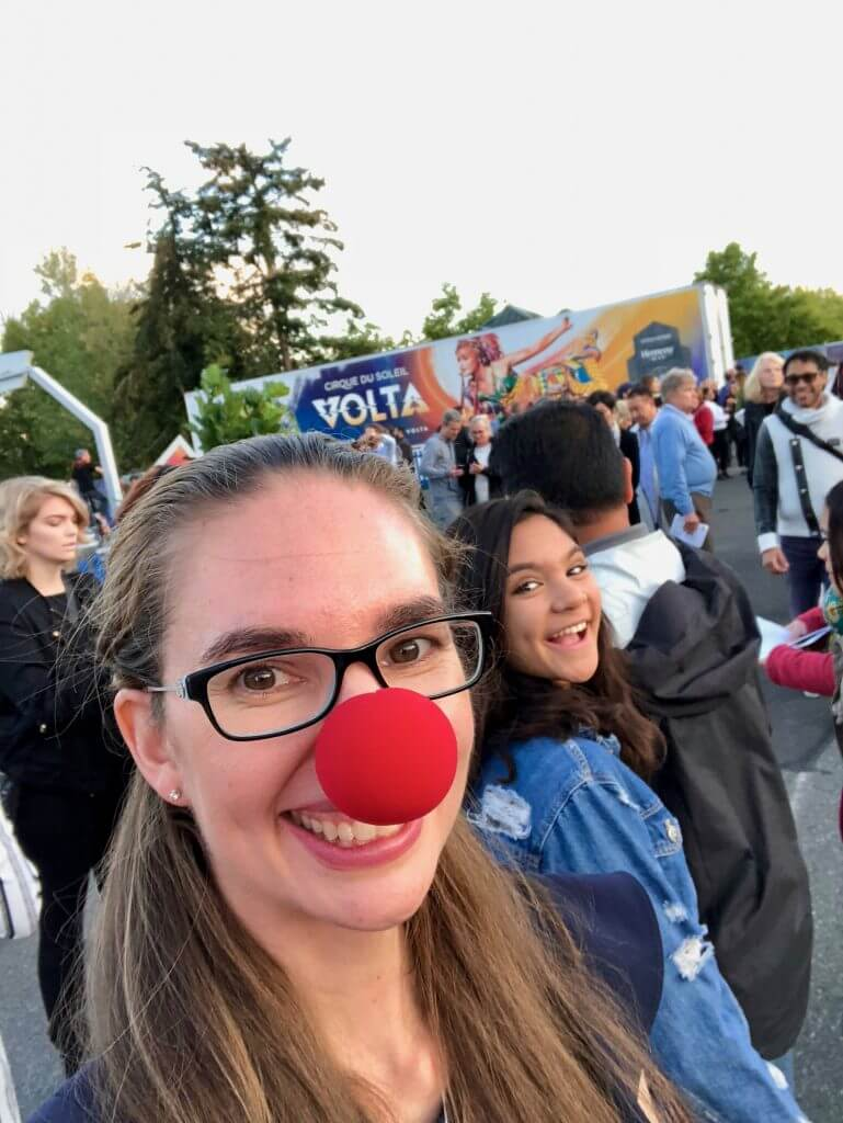 Photo of opening night of Cirque du Soleil VOLTA, featuring clown noses amongst other festivities near Seattle, WA #cirquedusoleil #VOLTA #marymoorpark #seattlewa