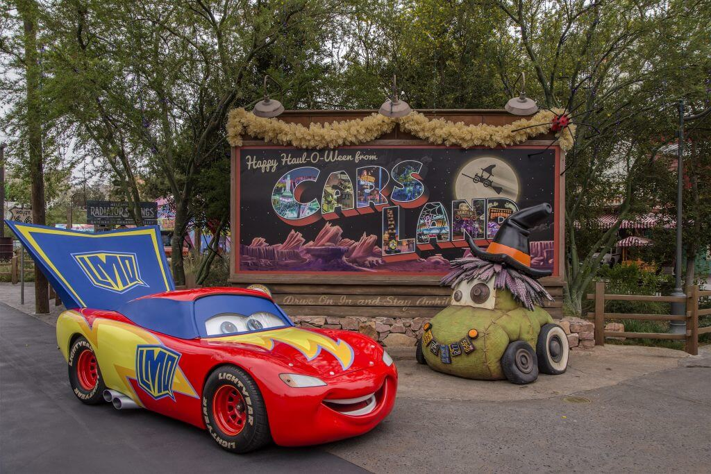 Photo of Cars Land at Disneyland Resort during Halloween Time at Disney California Adventure #Disneyland #carsland #halloween #Disneymom #LighteningMcQueen