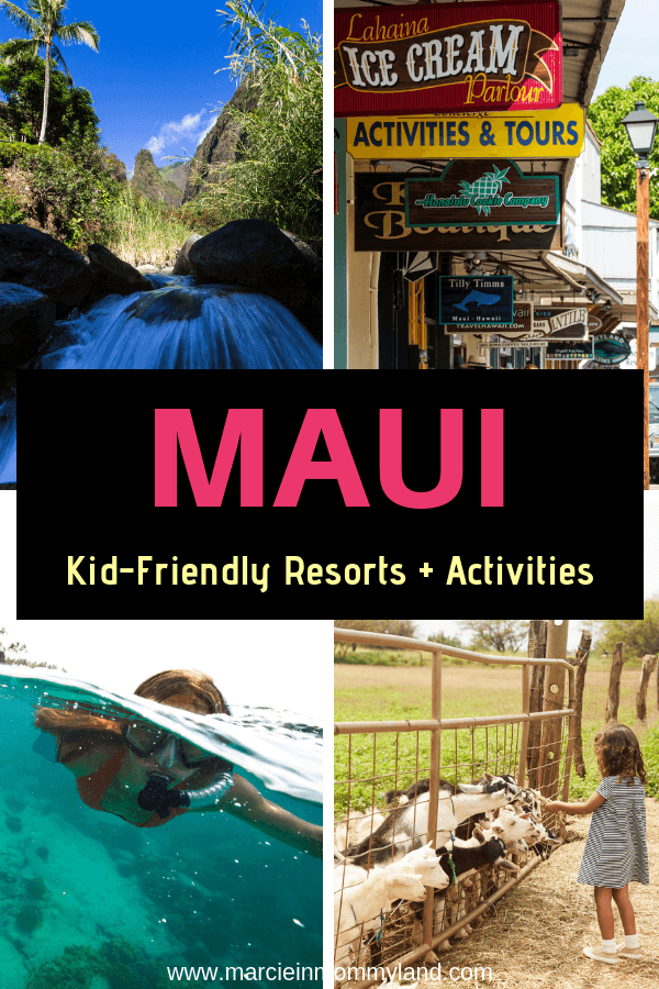 Heading to Maui with kids? Find out the best family resorts on Maui with kid-friendly activities plus find out the top things to do in Maui with kids! Click to read more or pin to save for later. www.marcieinmommyland.com #maui #hawaii #snorkeling #iaoneedle #surfinggoatdairy #kula #kihei #lahaina #wailea #kapalua #kaanapali