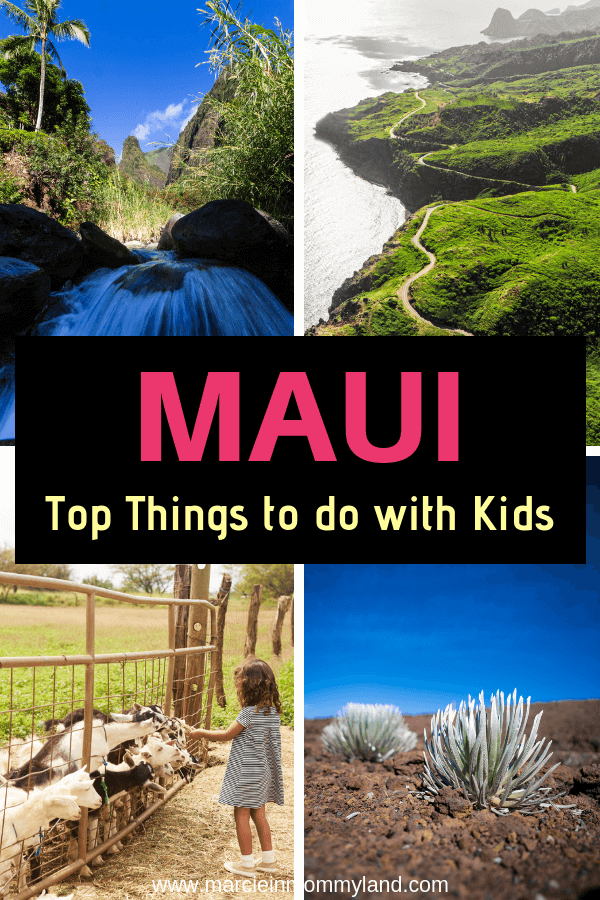 Want to know which Hawaiian island is best for kids? Find out the top things to do in Maui with kids PLUS find out the best family resorts in Maui. Click to read more or pin to save for later. www.marcieinmommyland.com #maui #mauiwithkids #mauiresort #mauihotel #kihei #kaanapali #lahaina #wailea #haleakala #roadtohana #iaoneedle