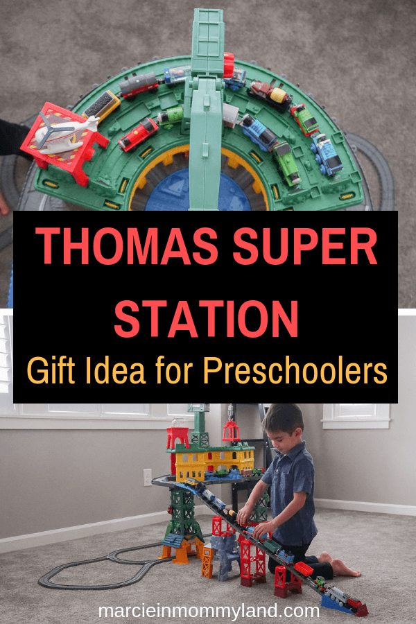 #ad Looking for a gift for a preschooler? The Thomas & Friends Super Station can hold 100+ engines and is compatible with all Thomas train sets. Click to read more or pin to save for later. www.marcieinmommyland.com #thomasstationwalmart #giftguide #preschooler #toddler