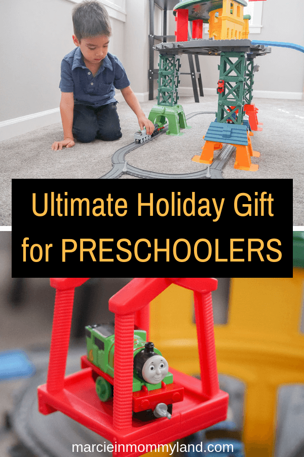 #ad Trying to figure out a gift for a 4 year old? One of the top holiday toys for preschoolers is the Thomas Super Station, available at Walmart. Click to read more or pin to save for later. www.marcieinmommyland.com #thomasstationwalmart #preschooler #4yearold #toy #holiday
