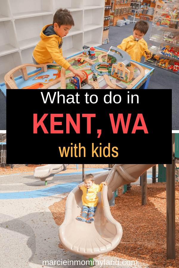 Wondering what to do in Kent, WA with kids? Get my picks for the coolest playgrounds near Seattle, local stores, and kid-friendly dining optins. Click to read more or pin to save for later. www.marcieinmommyland.com #visitkentwa #pnw #pacificnorthwest #familytravel