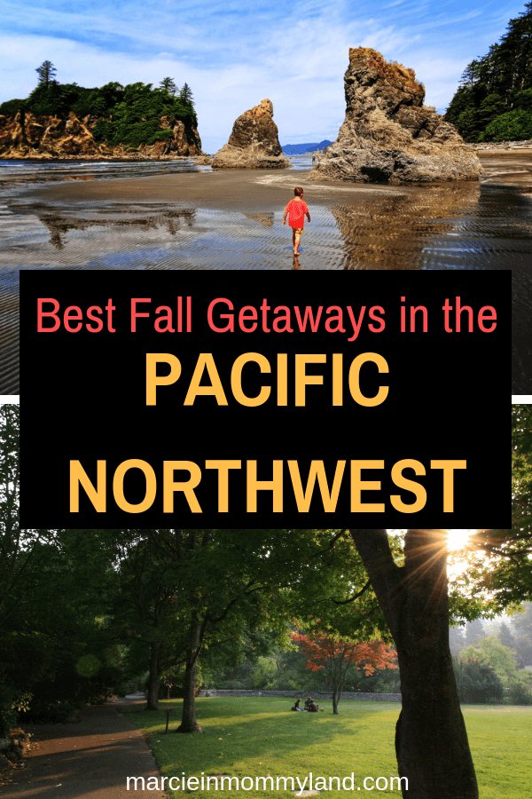 Looking for the best fall getaways in the Pacific Northwest? Find out where to go in Washington, Oregon, and British Columbia. Click to read more or pin to save for later. www.marcieinmommyland.com #pnw #pacificnorthwest #fallgetaways