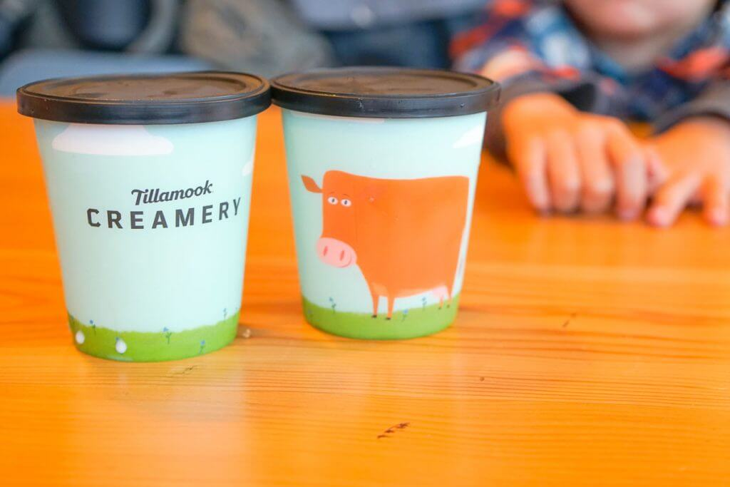 Photo of the milk cups at Tillamook Creamery, a great place to eat with kids on the Oregon Coast #tillamook #tillamookcreamery #oregon #oregoncoast