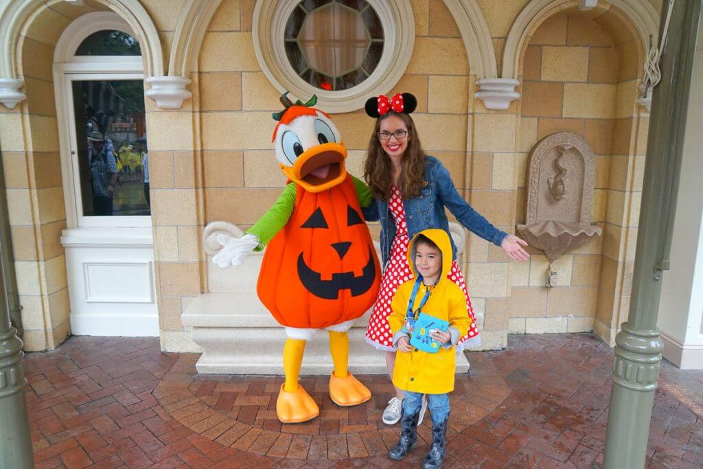 Photo of Donald dressed as a pumpkin at Halloween Time at the Disneyland Resort #DLR #DonaldDuck #Disneyland #Halloween