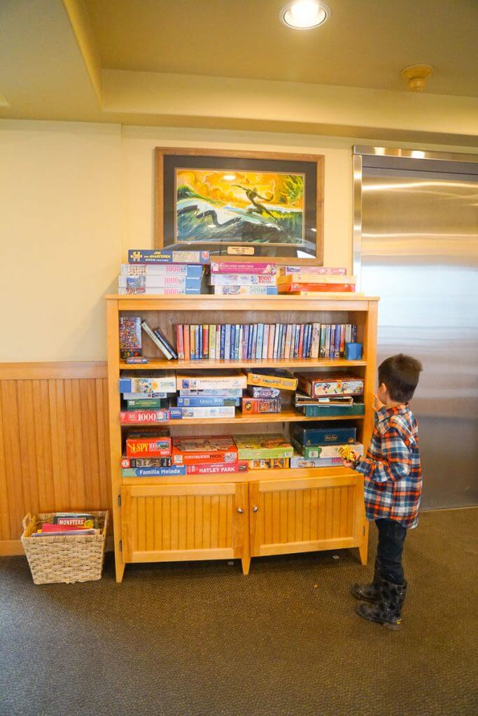 Photo of the game room at the Inn at Cape Kiwanda, a kid-friendly hotel on the Oregon Coast #kidfriendlyhotel #oregon #oregoncoast #pacificcity