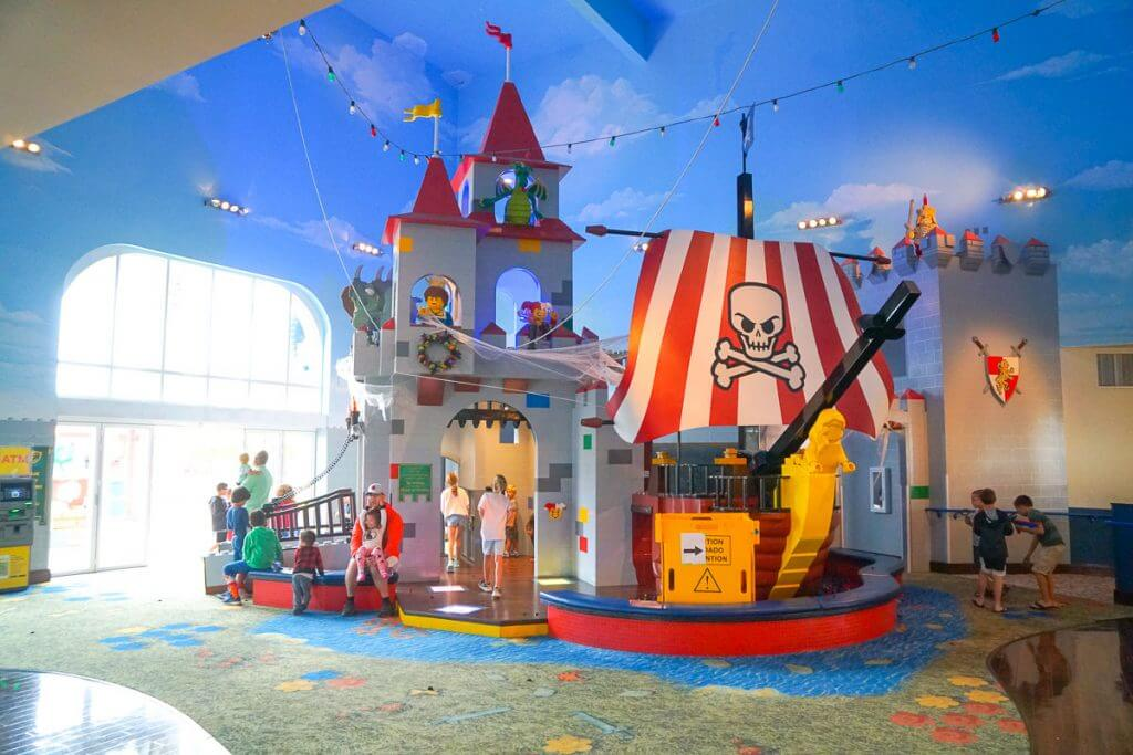 Photo of the Castle in the lobby of the LEGOLAND Hotel in California #legolandhotel #LEGOcastle #kidfriendlyhotel #familytravel