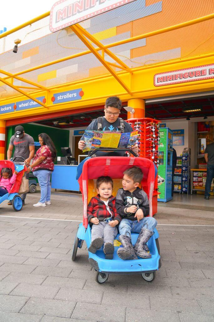 Photo of the stroller rental at LEGOLAND California #LEGOLANDCA #stroller #doublestroller