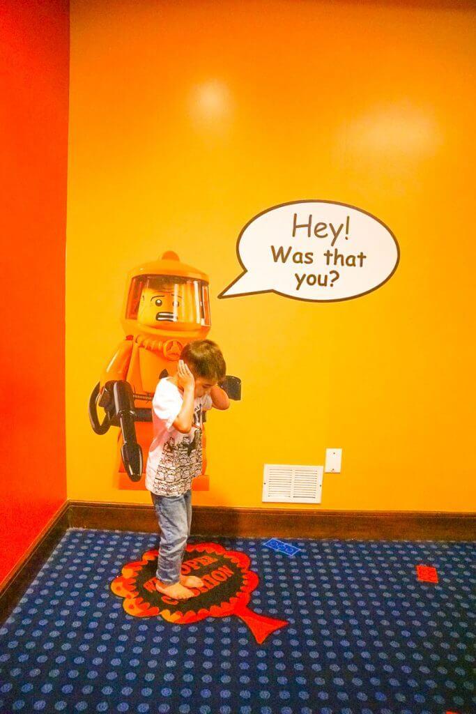 Photo of the Whoopie Cushion carpet at the LEGOLAND Hotel in California #legoland #legolandhotel #LEGO