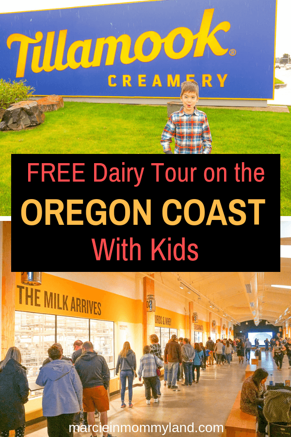 Heading to the Oregon Coast with kids? Stop by the Tillamook Creamery for a FREE tour of their cheese factory plus lots of tasty samples! Click to read more or pin to save for later. www.marcieinmommyland.com #oregoncoast #pacificnorthwest #tillamookcreamery #tillamook