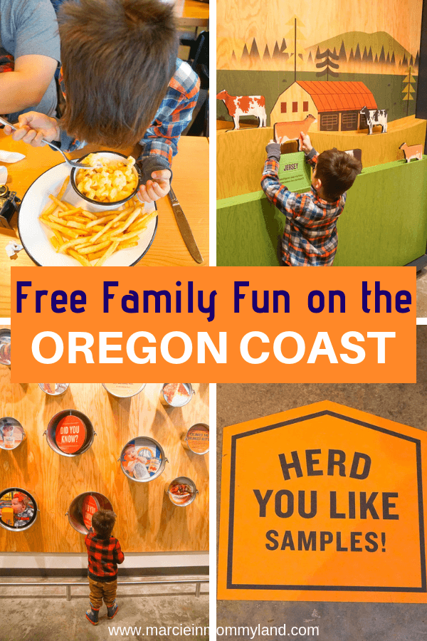 Looking for free things to do on the Oregon Coast? Stop by the Tillamook Creamery for kid-friendly dining, hands-on exhibits, and the coolest gift shop! Click to read more or pin to save for later. www.marcieinmommyland.com #tillamookcreamery #oregon #oregoncoast #familytravel #pnw